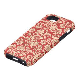Red & Beige Vintage Floral Damasks Case For The iPhone 5