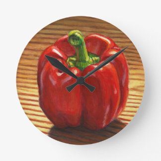 Red Bell Pepper Round Clock