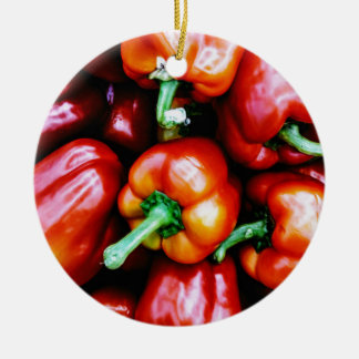 Red Bell Peppers Ceramic Ornament