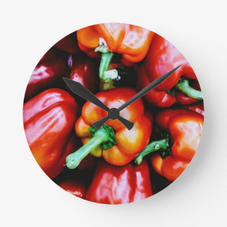 Red Bell Peppers Round Clock