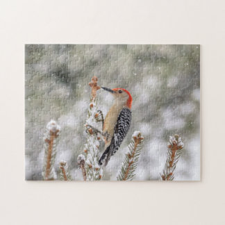 Red-bellied Woodpecker in the snow Jigsaw Puzzle