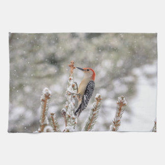 Red-bellied Woodpecker in the snow Kitchen Towel