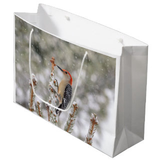 Red-bellied Woodpecker in the snow Large Gift Bag