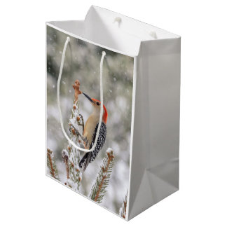 Red-bellied Woodpecker in the snow Medium Gift Bag