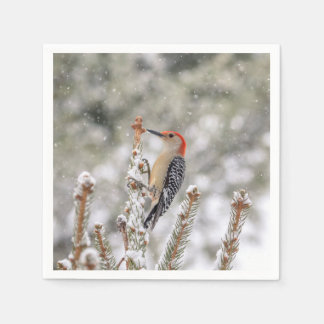Red-bellied Woodpecker in the snow Paper Napkin