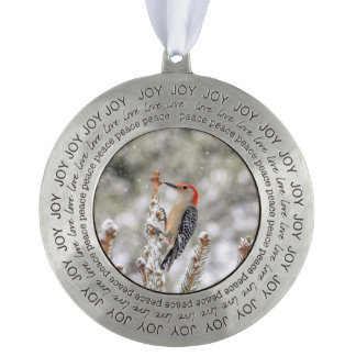 Red-bellied Woodpecker in the snow Pewter Ornament