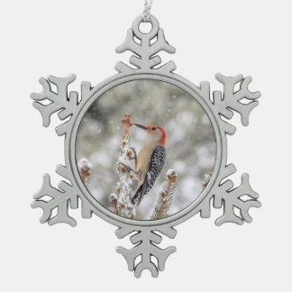 Red-bellied Woodpecker in the snow Snowflake Pewter Christmas Ornament