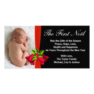 Red Bells Baby's First Christmas Photo Card