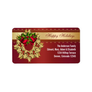 Red Bells Gold Holly Red Christmas Address Labels