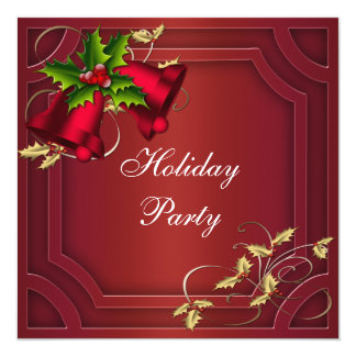 Red Bells Red Gold Corporate Holiday Party Card
