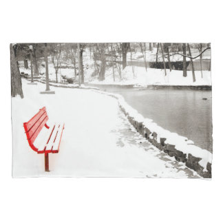 Red Bench in Snow Pillow Case Pillowcase