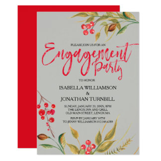 Red Berries Boho Engagement Party Invitations