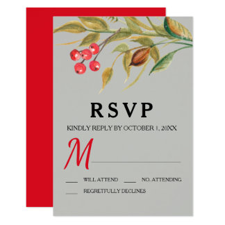 Red Berries & Branches Boho  RSVP Card