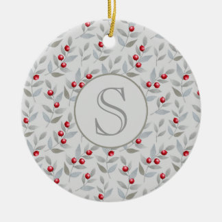 Red Berries Gray Leaves Monogram Ornament