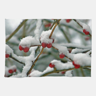 Red Berries in Winter Snow Kitchen Towel