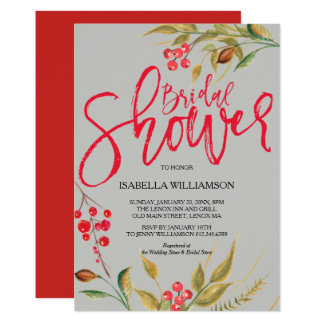 Red Berries Watercolor Bridal Shower Invitations