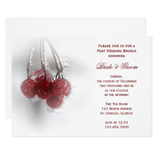 Red Berries Winter Post Wedding Brunch Invitation