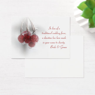 Red Berries Winter Wedding Charity Favor Card