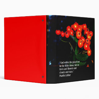 Red berries with Martin Luther quote binder