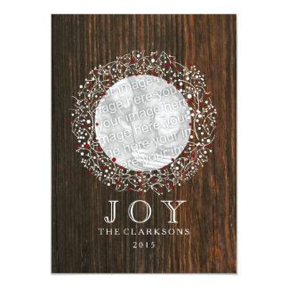 Red Berries Wreath + Barn Wood Christmas Card