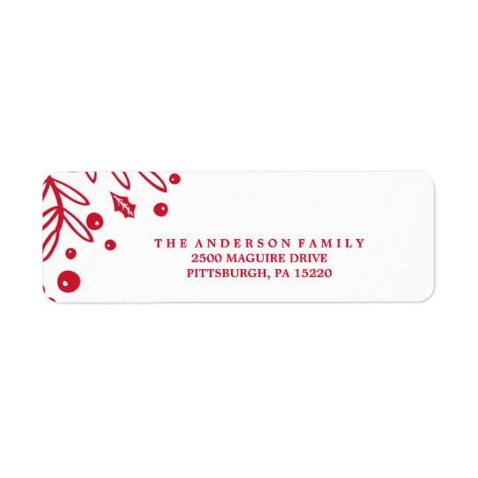RED BERRY Return Address Label