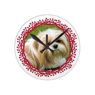 Red berry wreath custom photo frame design round clock