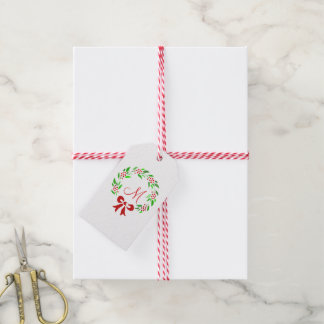 Red Berry Wreath Monogram Gift Tags