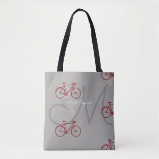 red bicycles with name and initial on gray tote bag