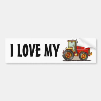 """Red Big Tractor, I LOVE MY…Bumper Stickers"" Bumper Sticker"