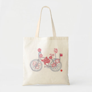 Red Bike motif Space for Cycling Tote Shopping Bag