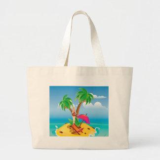 Red Bikini Girl on Island Jumbo Tote Bag