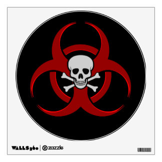 Red Biohazard Skull and Crossbones Wall Sticker