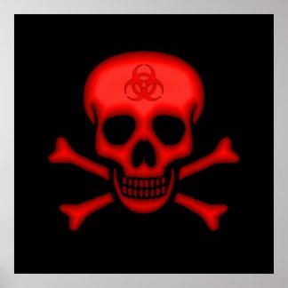 Red Biohazard Skull Poster
