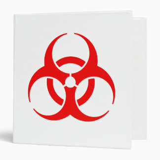 Red Biohazard Symbol 3 Ring Binder
