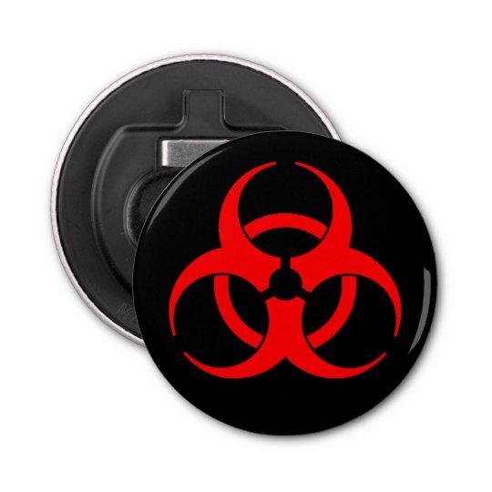 Red Biohazard Symbol Button Bottle Opener