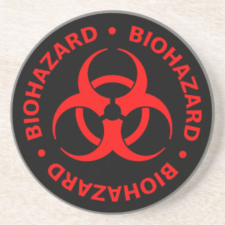 Red Biohazard Symbol Coaster w/ Text