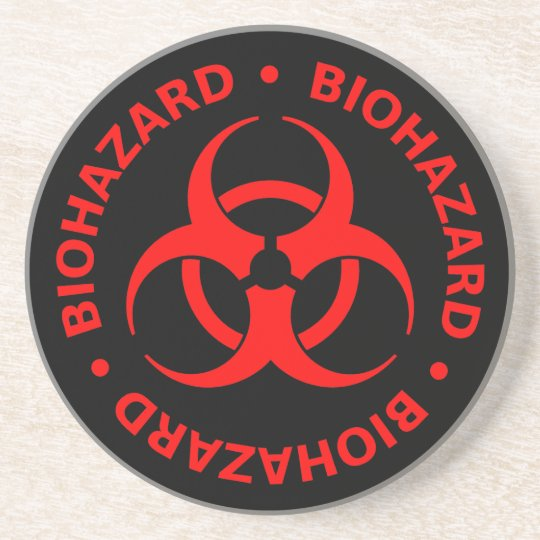 Red Biohazard Symbol Coaster w/ Text