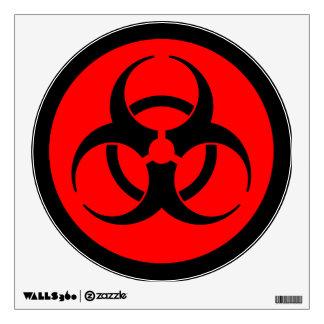 Red Biohazard Warning Sign Wall Sticker