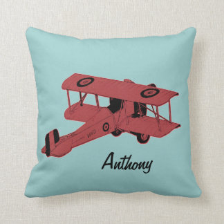 red biplane kids room toss pillow