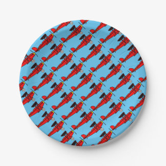 Red Biplane Paper Plate