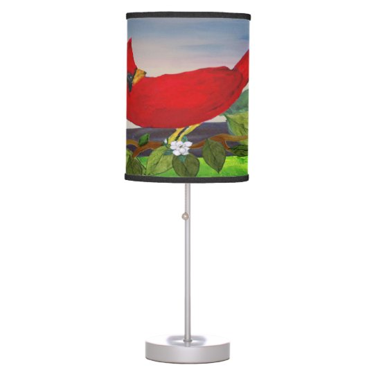 Red bird accent lamp from my art