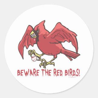 Red Bird Baseball by Mudge Studios Round Sticker