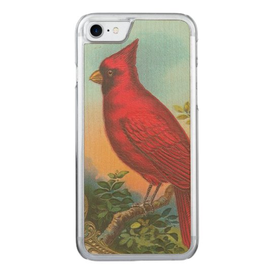 Red Bird Carved iPhone 7 Case