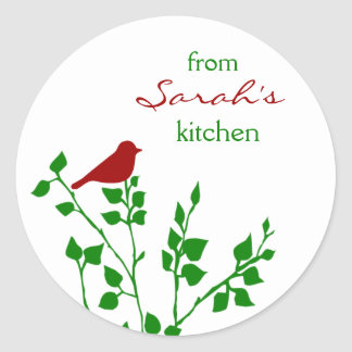 Red Bird Christmas Custom Baking Stickers