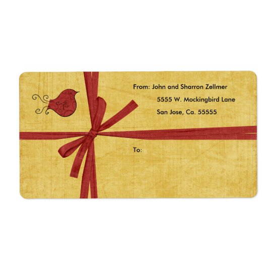 Red Bird Christmas Shipping Labels