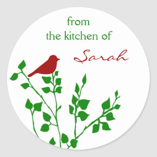 Red Bird Custom Name Christmas Canning Stickers