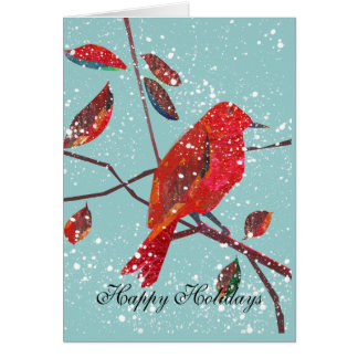 Red Bird First Snow Holiday Card
