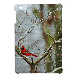 Red Bird In Winter Case For The iPad Mini