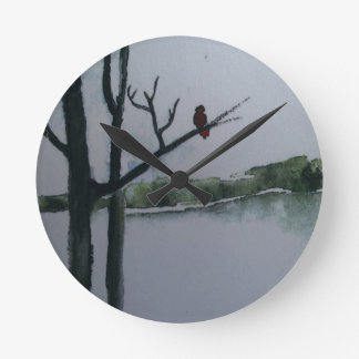 Red Bird Round Clock
