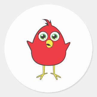 Red Bird Round Sticker